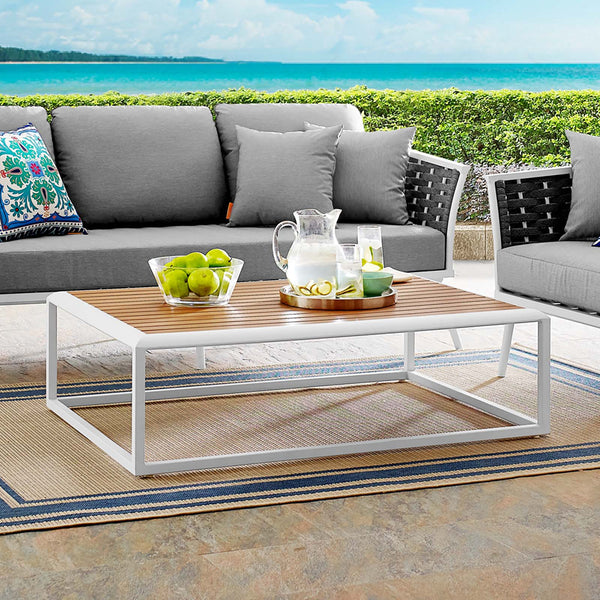 Stance Outdoor Patio Aluminum Coffee Table - White Natural