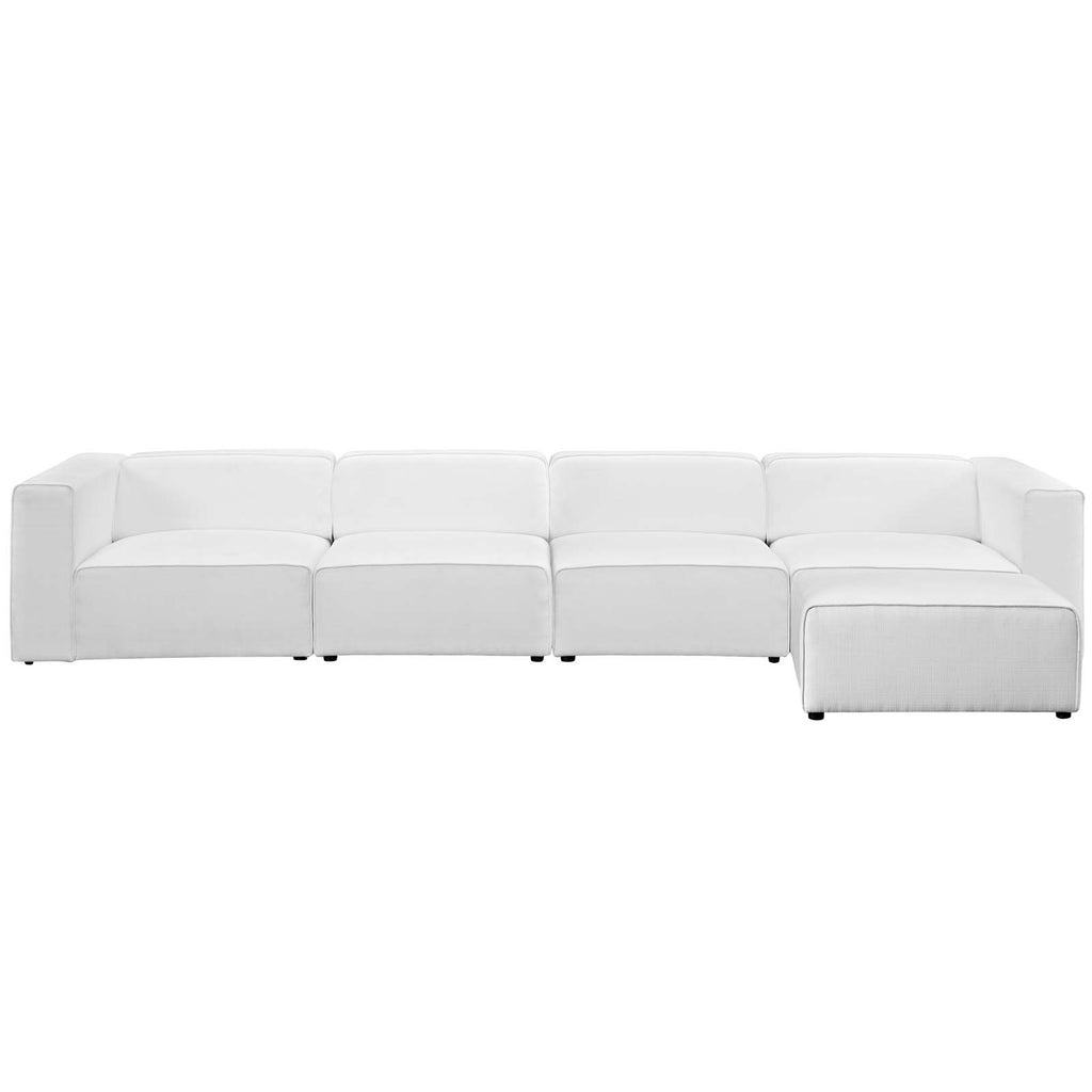 Mingle 5 Piece Upholstered Fabric Sectional Sofa Set - White