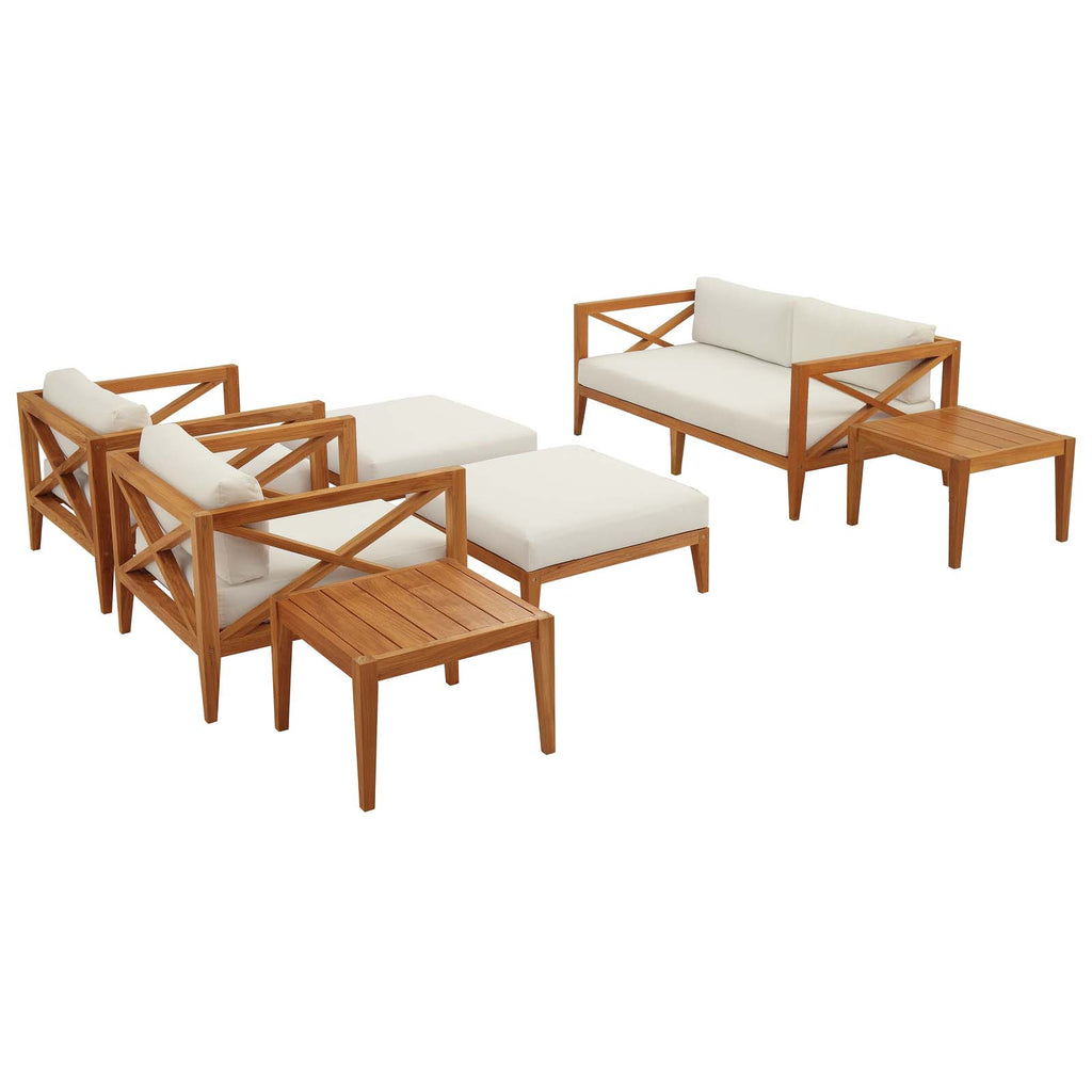 Northlake 7 Piece Outdoor Patio Premium Grade A Teak Wood Set - Natural White