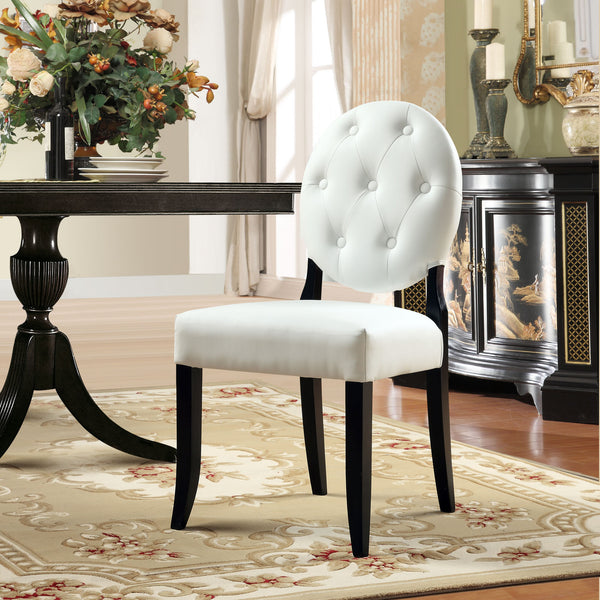 Button Dining Chairs Set of 2 - White
