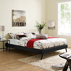 Loryn Full Vinyl Bed Frame with Round Splayed Legs - Black