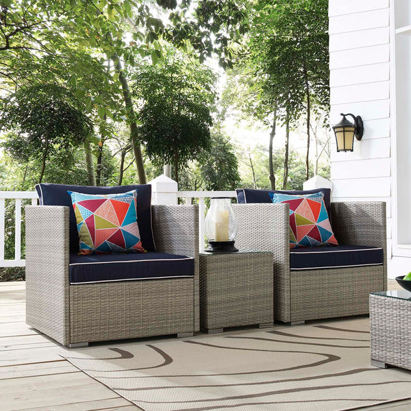 Repose 3 Piece Outdoor Patio Sectional Set - Light Gray Navy
