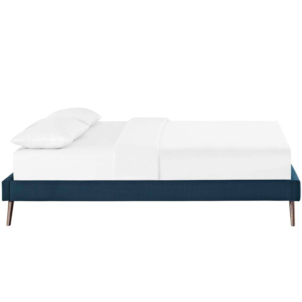 Loryn King Fabric Bed Frame with Round Splayed Legs - Azure