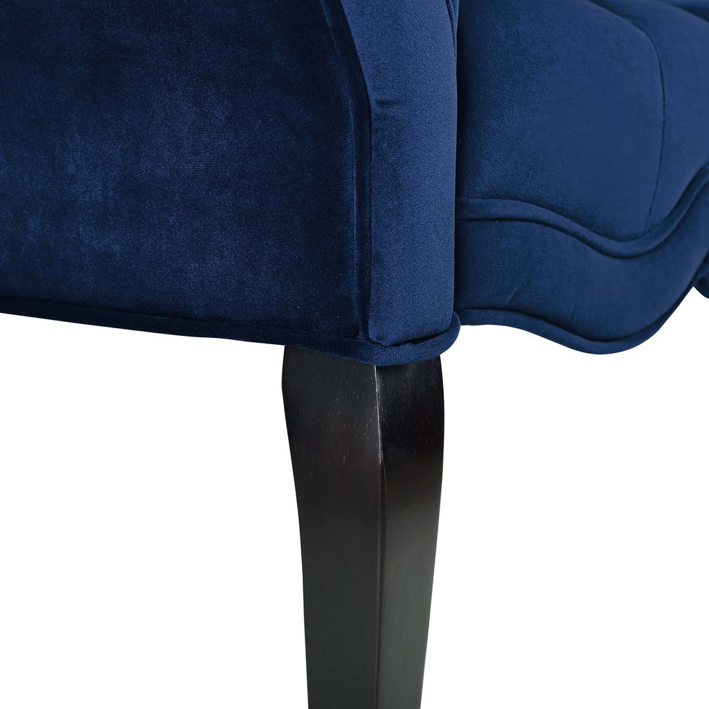 Adelia Chesterfield Style Button Tufted Performance Velvet Bench - Navy
