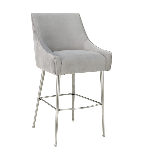 Beatrix Pleated Grey Velvet Bar Stool