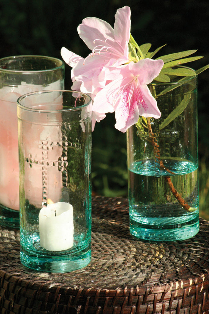 RUSTIC GLASS CANDLEHOLDER VASE OR DRINKWARE W CROSS DETAIL