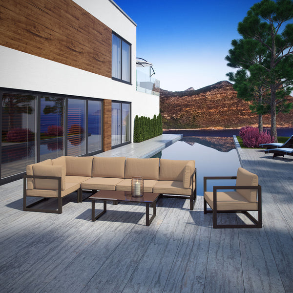 Fortuna 7 Piece Outdoor Patio Sectional Sofa Set - Brown Mocha