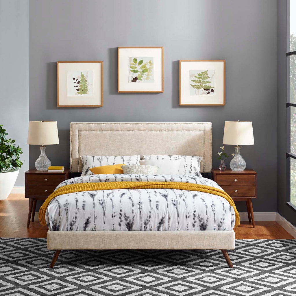 Virginia King Fabric Platform Bed with Round Splayed Legs - Beige