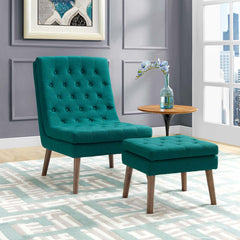 Modify Upholstered Lounge Chair and Ottoman - Teal