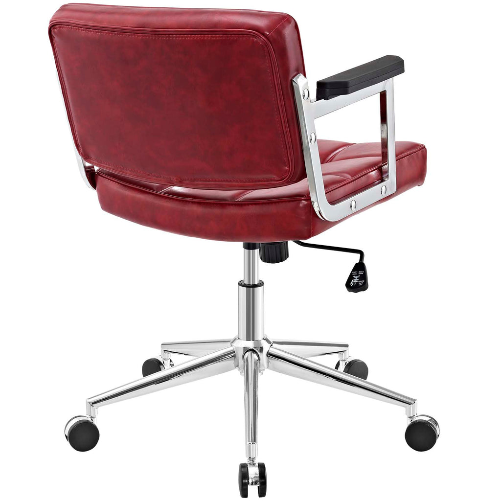 Portray Mid Back Upholstered Vinyl Office Chair - Red