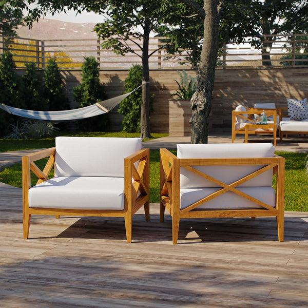 Northlake Outdoor Patio Premium Grade A Teak Wood Armchair Set of 2 - Natural White