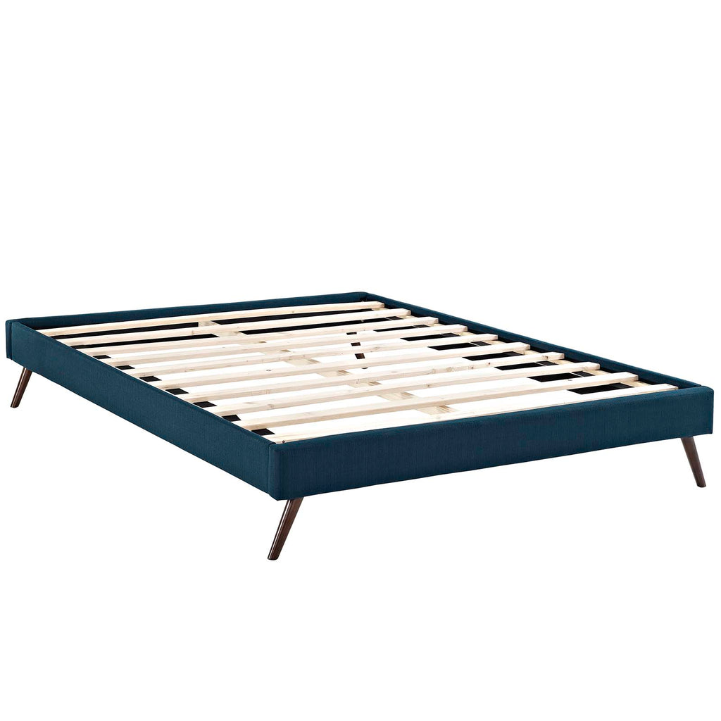 Loryn Full Fabric Bed Frame with Round Splayed Legs - Azure