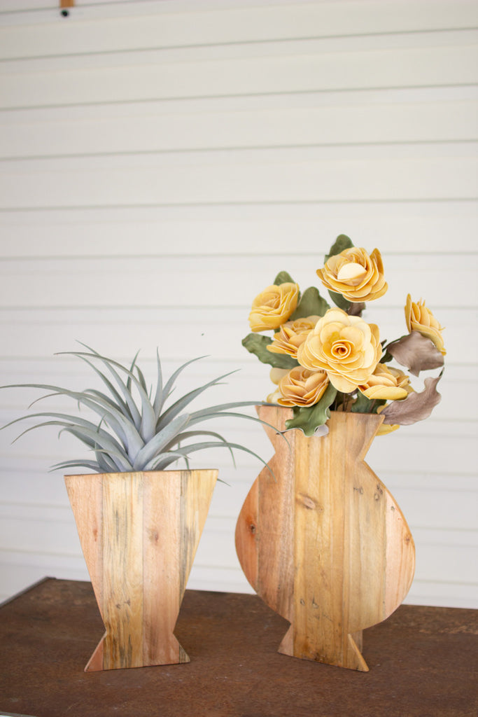 Set of Two Recycled Wood Silouette Vases