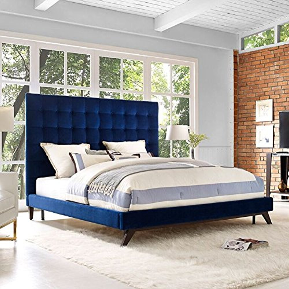 Eden Navy Velvet Bed in Queen
