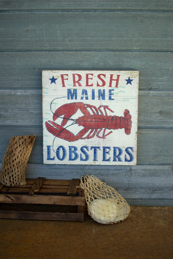 Fresh Maine Lobsters Printed On Wood