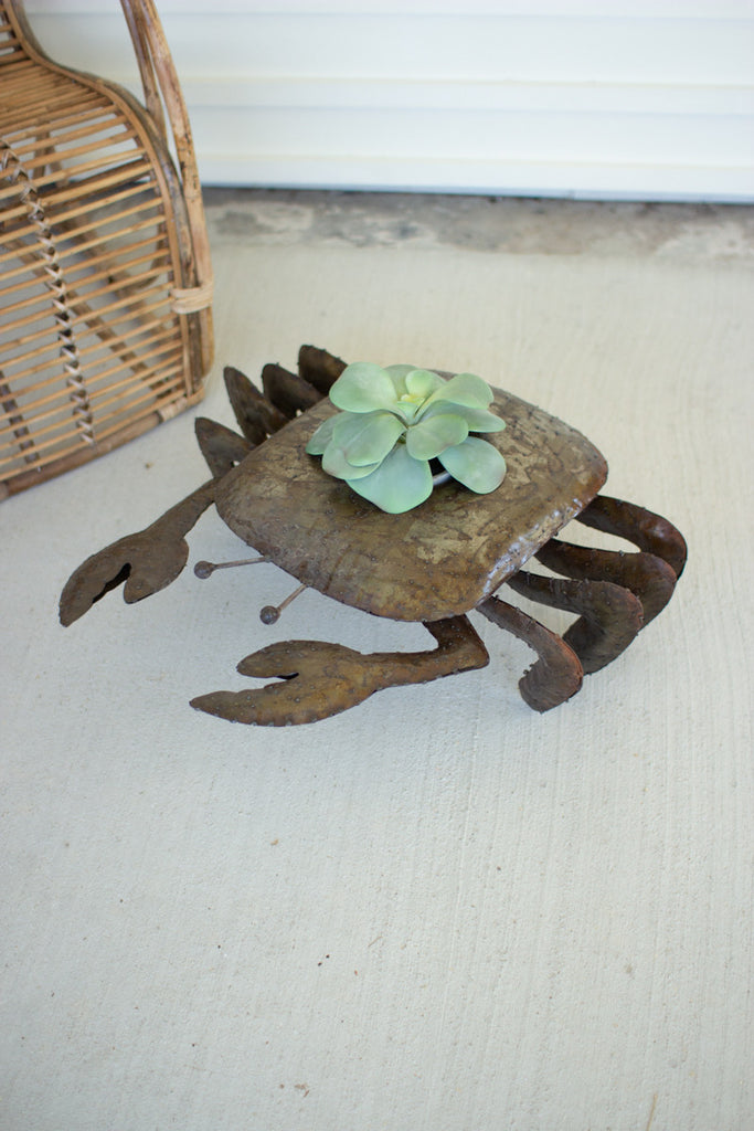 Rustic Metal Crab Planter