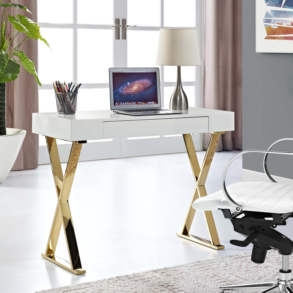 Sector Console Table - White Gold