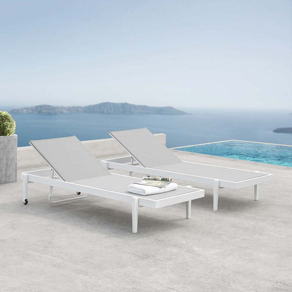 Charleston Outdoor Patio Aluminum Chaise Lounge Chair Set of 2 - White Gray