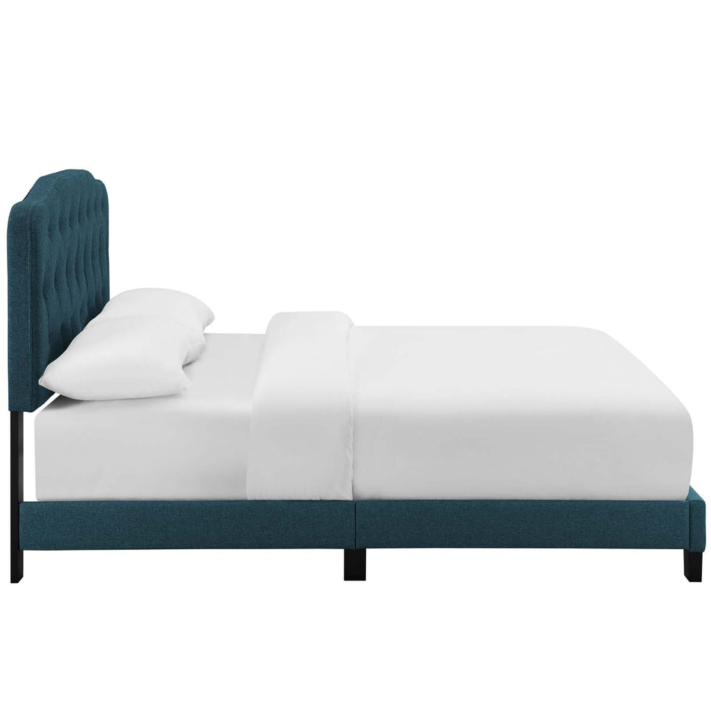 Amelia King Upholstered Fabric Bed - Azure