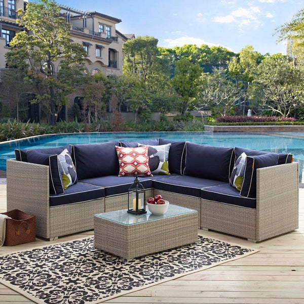 Repose 6 Piece Outdoor Patio Sectional Set - Light Gray Navy