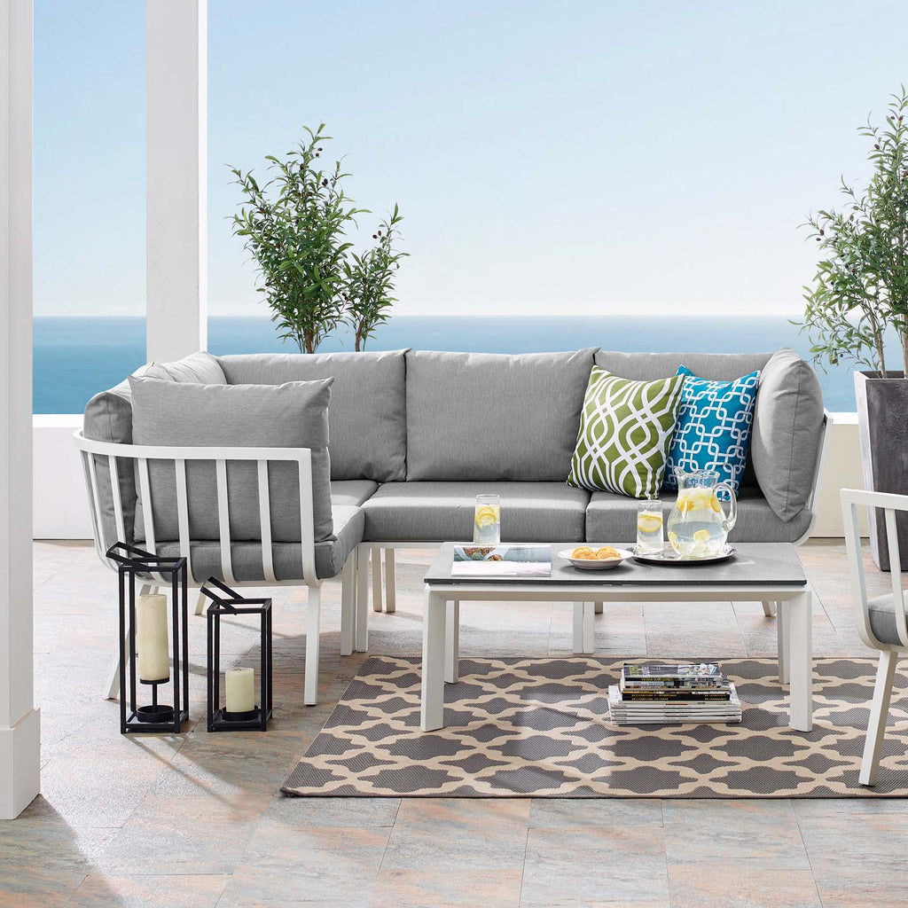 Riverside 5 Piece Outdoor Patio Aluminum Set - White Gray