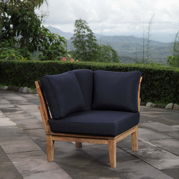 Marina Outdoor Patio Teak Corner Sofa - Natural Navy