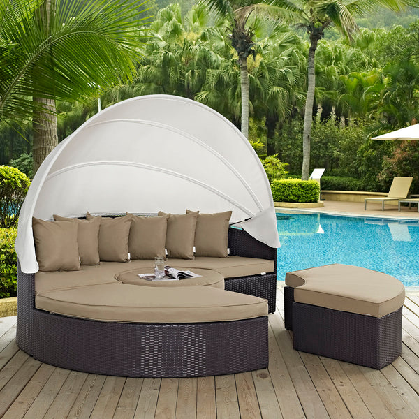 Quest Canopy Outdoor Patio Daybed - Espresso Mocha