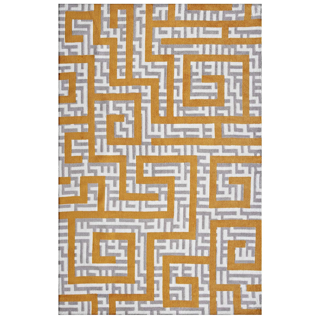 Nahia Geometric Maze 5x8 Area Rug - Ivory, Light Gray and Banana Yellow