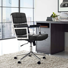 Portray Highback Upholstered Vinyl Office Chair - Black