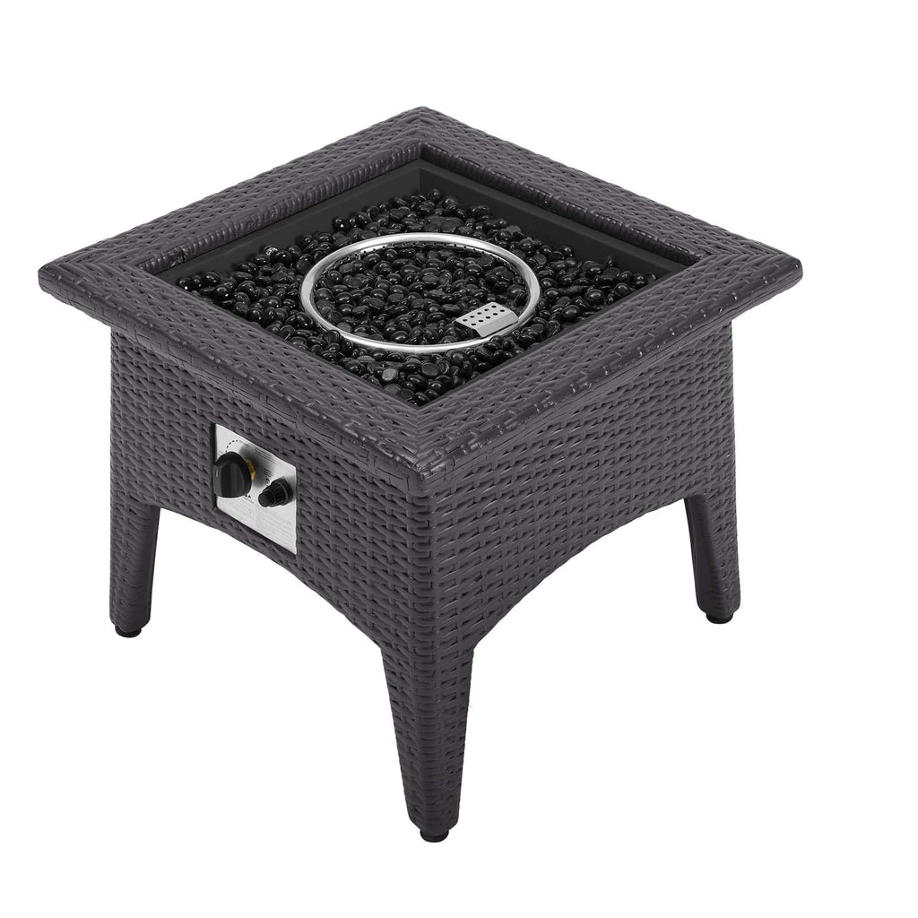 Convene 5 Piece Set Outdoor Patio with Fire Pit - Espresso Turquois