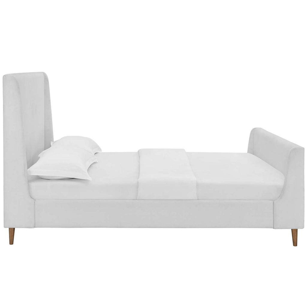 Aubree Queen Upholstered Fabric Sleigh Platform Bed - White