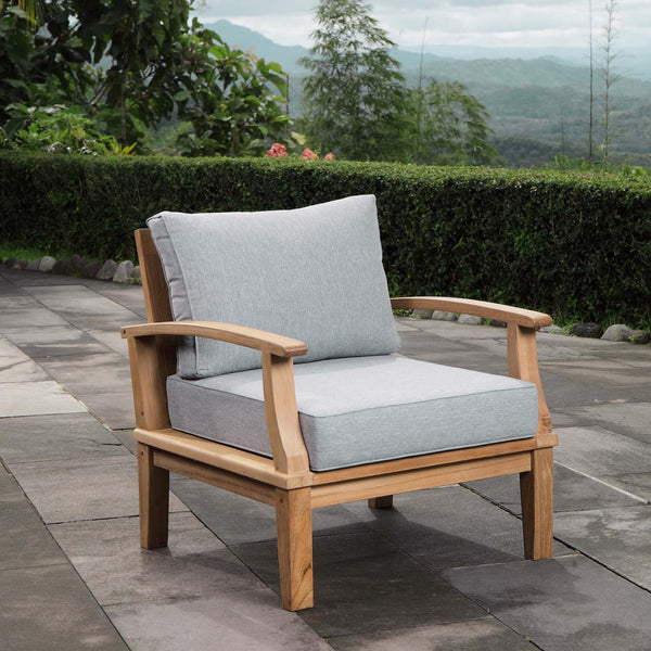 Marina Outdoor Patio Teak Armchair - Natural Gray