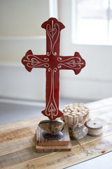 Painted Red Metal Cross On Caged Rock Base
