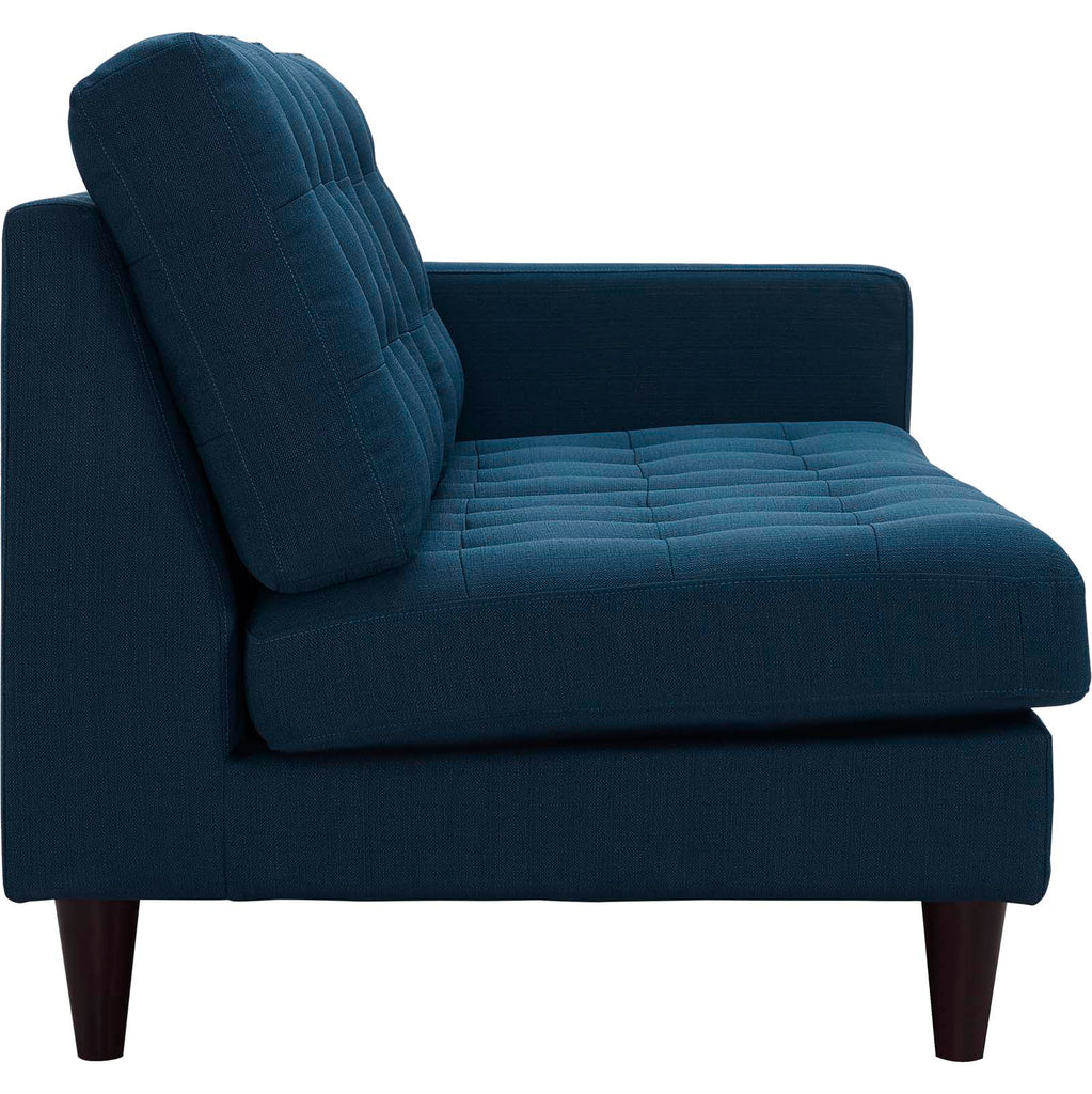Empress Right-Facing Upholstered Fabric Loveseat - Azure