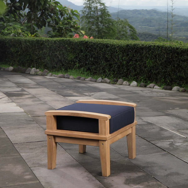Marina Outdoor Patio Teak Ottoman - Natural Navy