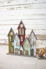 Recycled Painted Wooden Christmas Village