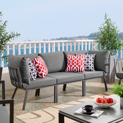 Riverside 3 Piece Outdoor Patio Aluminum Sectional Sofa Set - Gray Charcoal