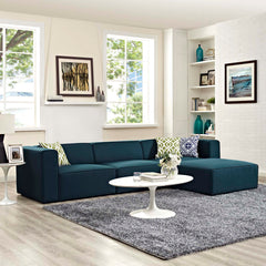 Mingle 4 Piece Upholstered Fabric Sectional Sofa Set - Blue