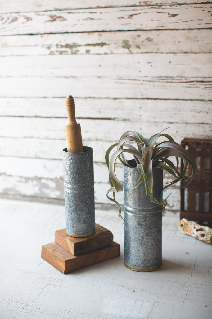 Set of Two Metal Cylinder Vases - Raw Metal with Brass Detail