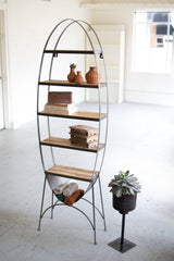 Large Oval Recycled Wood and Iron Shelf On a Stand
