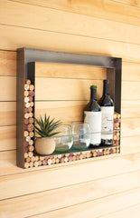 Metal Wall Bar and Wine Cork Holder