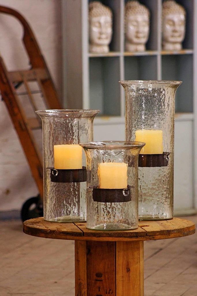 ORIGINAL GLASS CANDLE CYLINDER W RUSTIC INSERT - LARGE
