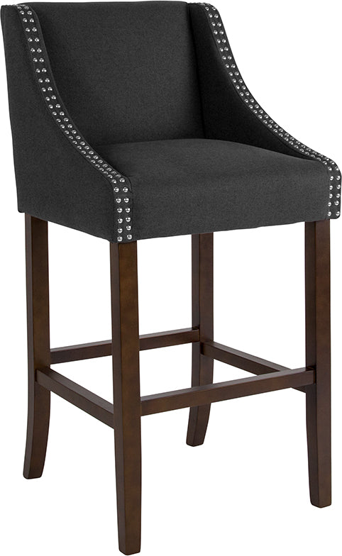 "Carmel Series 30"" High Transitional Walnut Barstool with Accent Nail Trim in Charcoal Fabric"