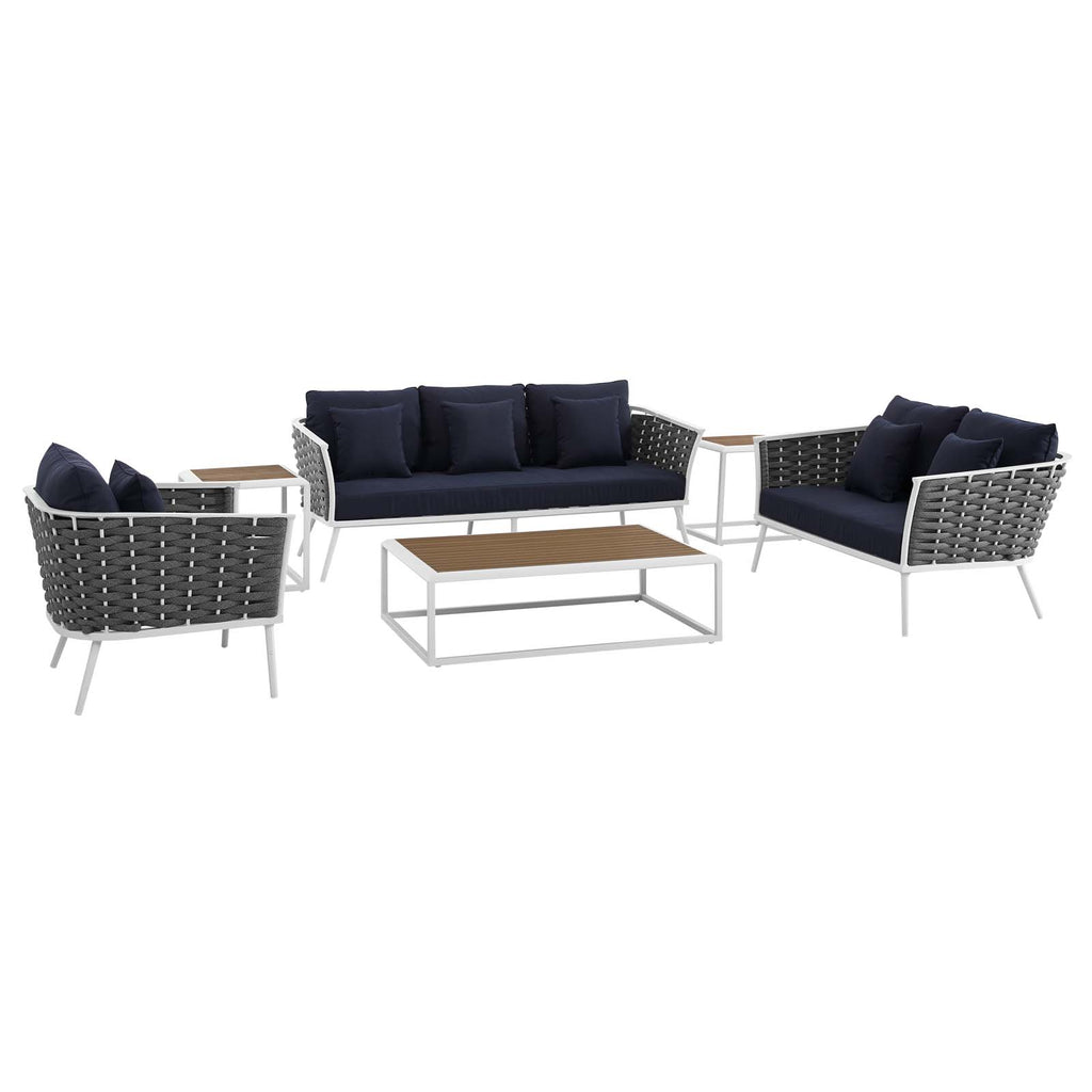 Stance 6 Piece Outdoor Patio Aluminum Sectional Sofa Set - White Navy