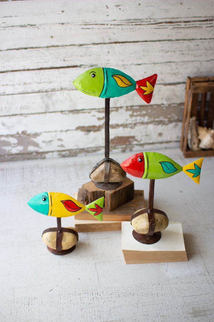Set of Three Painted Metal Fish On Caged Rock Bases