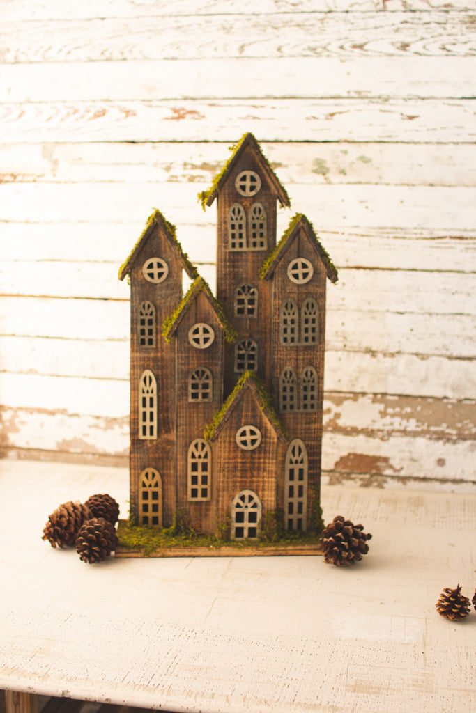 Large Recycled Rustic Wooden Christmas Village