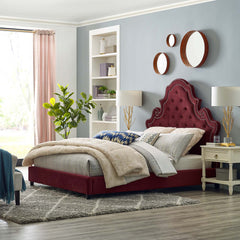 Valentina Queen Tufted Nailhead Performance Velvet Platform Bed - Maroon