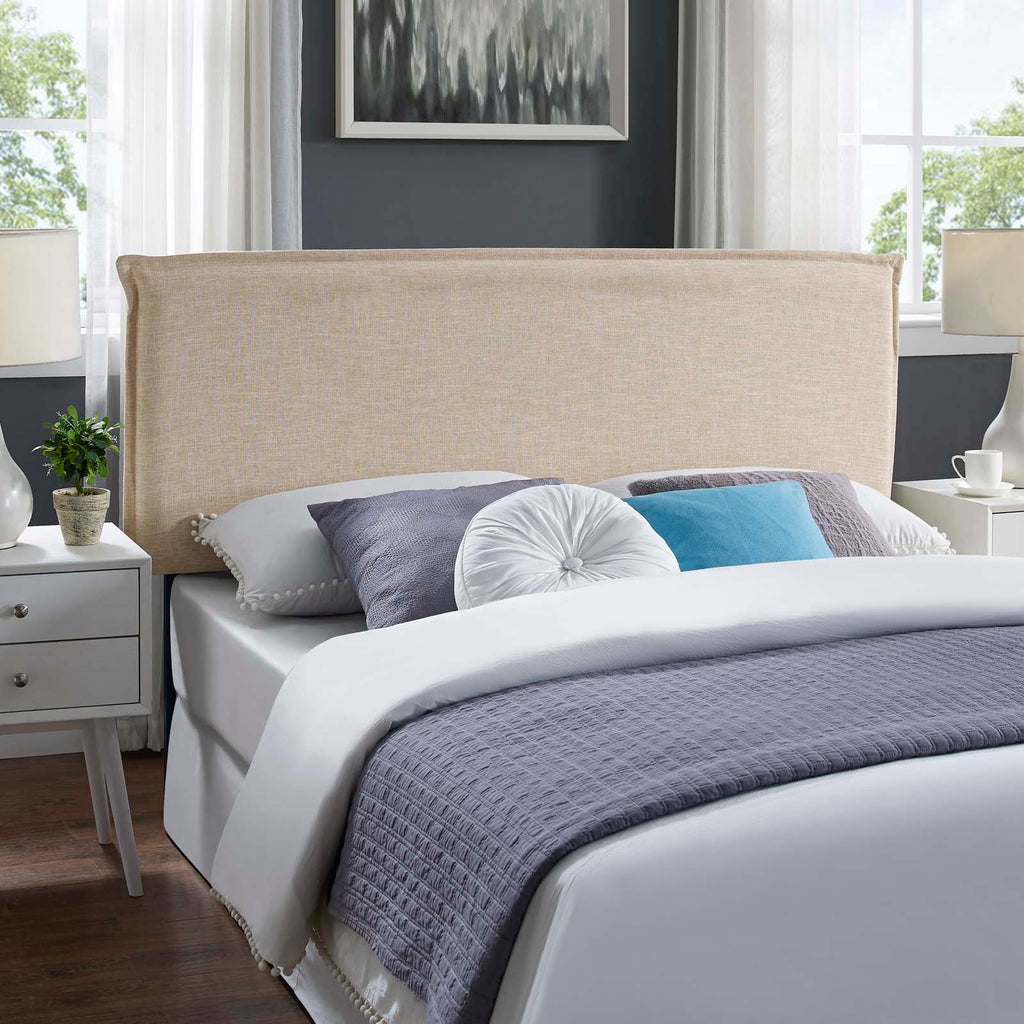 Camille Queen Upholstered Fabric Headboard - Beige