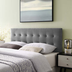 Emily Queen Biscuit Tufted Performance Velvet Headboard - Gray