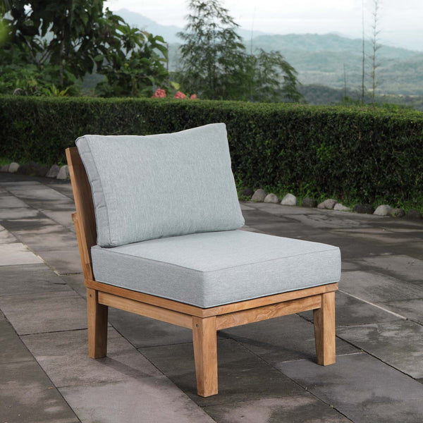 Marina Armless Outdoor Patio Teak Sofa - Natural Gray